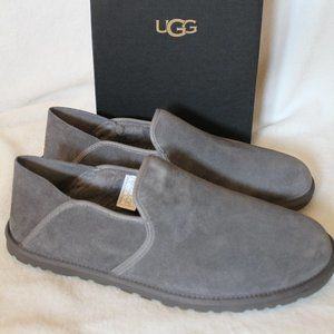 UGG MENS SUEDE SHEARLING SLIP ON SLIPPERS NEW GRAY